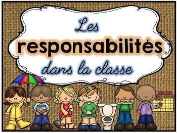 Responsabilités dans la classe - French Classroom Jobs - Thème: burlap