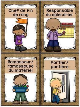 Responsabilités de classe - French Classroom Jobs - Thème: burlap