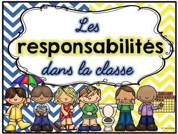 Responsabilités dans la classe - French Classroom Jobs - Thème: chevron