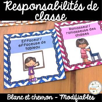 Responsabilités dans la classe - French Classroom Jobs - T
