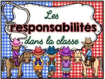 Responsabilités dans la classe - French Classroom Jobs - Thème: cowboys