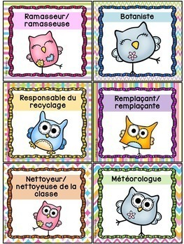 Responsabilités dans la classe - French Classroom Jobs - Thème: hiboux