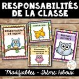 Responsabilités de classe - French Classroom Jobs - Thème: hiboux