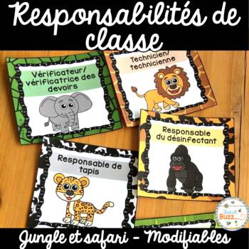 Responsabilités dans la classe - French Classroom Jobs - Thème: jungle et safari