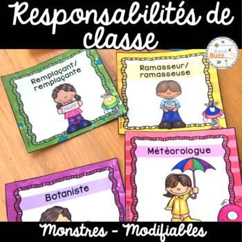 Responsabilités dans la classe - French Classroom Jobs - Thème: monstres