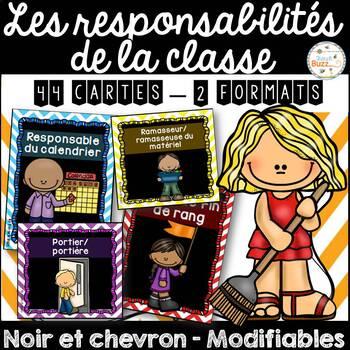 Responsabilités dans la classe - French Classroom Jobs - Thème: noir et chevron