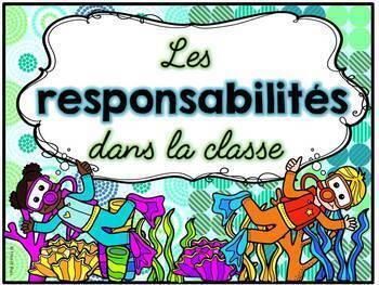 Responsabilités dans la classe - French Classroom Jobs - Thème: océan
