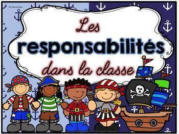 Responsabilités dans la classe - French Classroom Jobs - Thème: pirates