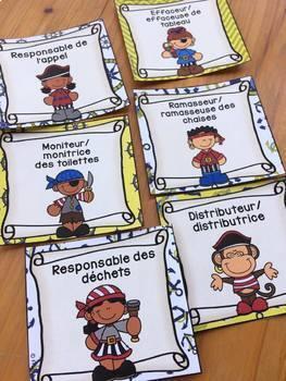 Responsabilités de classe - French Classroom Jobs - Thème: pirates