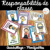 Responsabilités de classe - French Classroom Jobs - Thème: quadrillage