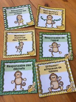 Responsabilités dans la classe - French Classroom Jobs - Thème: singes