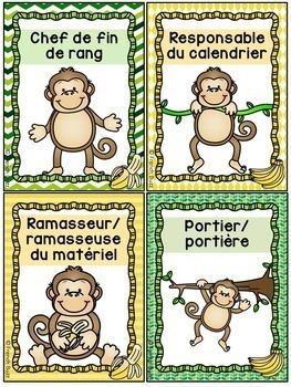 Responsabilités de classe - French Classroom Jobs - Thème: singes