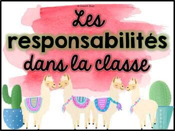 Responsabilités de classe - French Classroom Jobs - Thème: cactus et lamas
