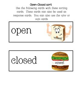 Response Cards-Open/Closed Vowel