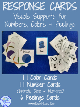 Response Cards- Visuals for Colors, Numbers, and Feelings. Perfect for Autism!