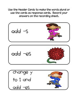 Response Cards-add es, s
