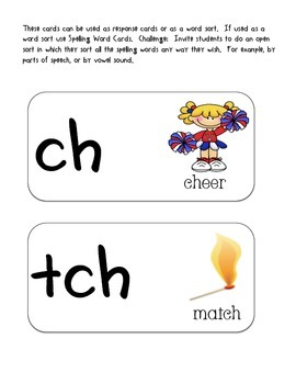 Response Cards-ch & tch