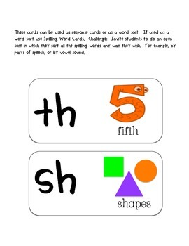 Response Cards- th, sh, wh, ph