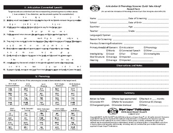 Record Form for Super Duper Articulation & Phonology Screener Quick Take Along