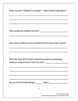 Marching to Freedom: The Story of Martin Luther King,Jr. Reading Response Guide