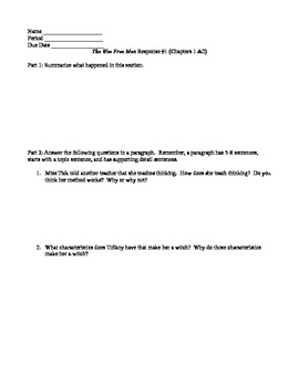 """Response Packet for """"The Wee Free Men"""" by Terry Pratchett"""