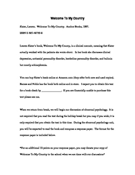 Response Paper Assignment to accompany Lauren Slater's 'Welcome To My Country'