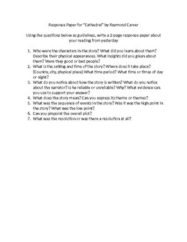 """Response Questions for short reading """"The Cathedral"""" by Raymond Carver"""