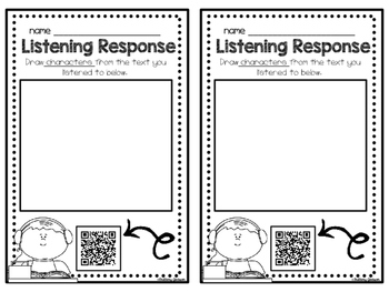 Listening Response Sheet for Listening Station with QR code Voice Directions
