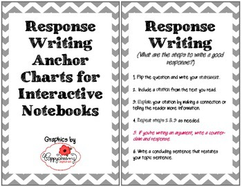 Response Writing Anchor Charts for Interactive Notebooks