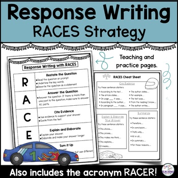 Response Writing With Races Strategy Freebie By Stress Free Teaching