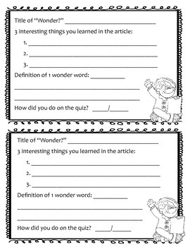 Response sheet for Wonderopolis Website