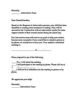 Response to Intervention Parent Letters