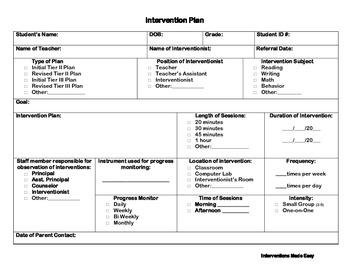 Response to Intervention Plan