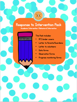 Response to Intervention (RTI) Pack - Academic and Behavioral