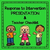 Response to Intervention (RTI) Power Point and Teacher Intervention Checklist