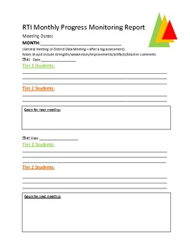 Response to Intervention (RTI) Progress Monitoring Agenda Printable