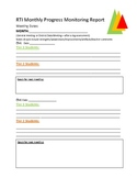 Response to Intervention (RTI) Progress Monitoring Agenda