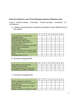 Response to Intervention (RTI) referral packet