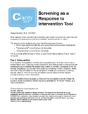 Response to Intervention Screening Forms