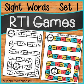 Response to Intervention Sight Words Games Set One
