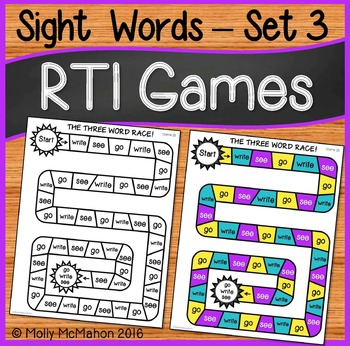 Response to Intervention Sight Words Games Set Three