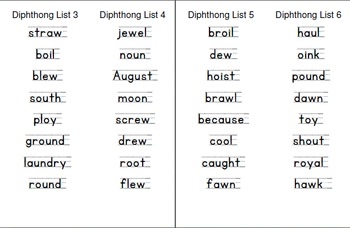 Response to Intervention Skill-based Take Home Diphthong Word Lists