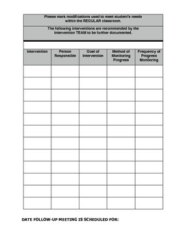 Response to Intervention~Request for Assistance Form