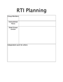 Response to Interventions (RTI) Planning Sheet