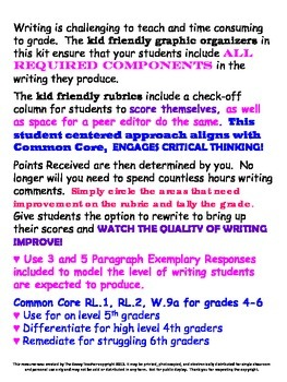 Response to Literature Common Core Kid Friendly Writing Kit