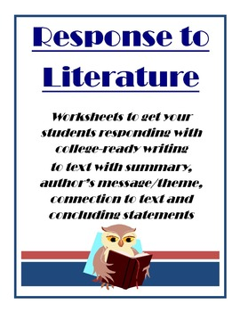 Response to Literature CCS Worksheets Activities Assessment Complete Unit