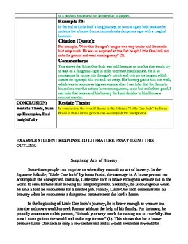 Response to Literature Essay Outline - Worksheet (& Student Ex. Outline & Essay)