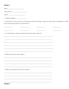 Response to Literature Forms