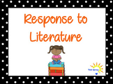 Response to Literature Menus, Task Cards & Prompts