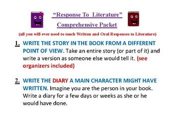 Response to Literature Muliti- Comprehensive Packet
